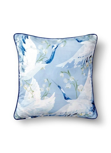 The Mia Leylek Yastık -Açık Mavi 50 x 50cm Mavi